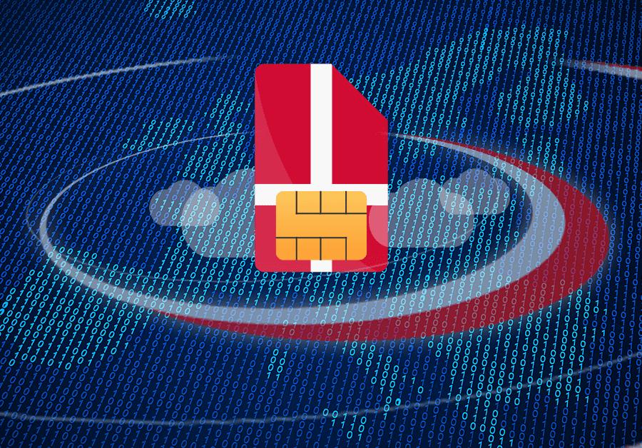 En computer chip med det danske flag som er omgivet af eu i bytes