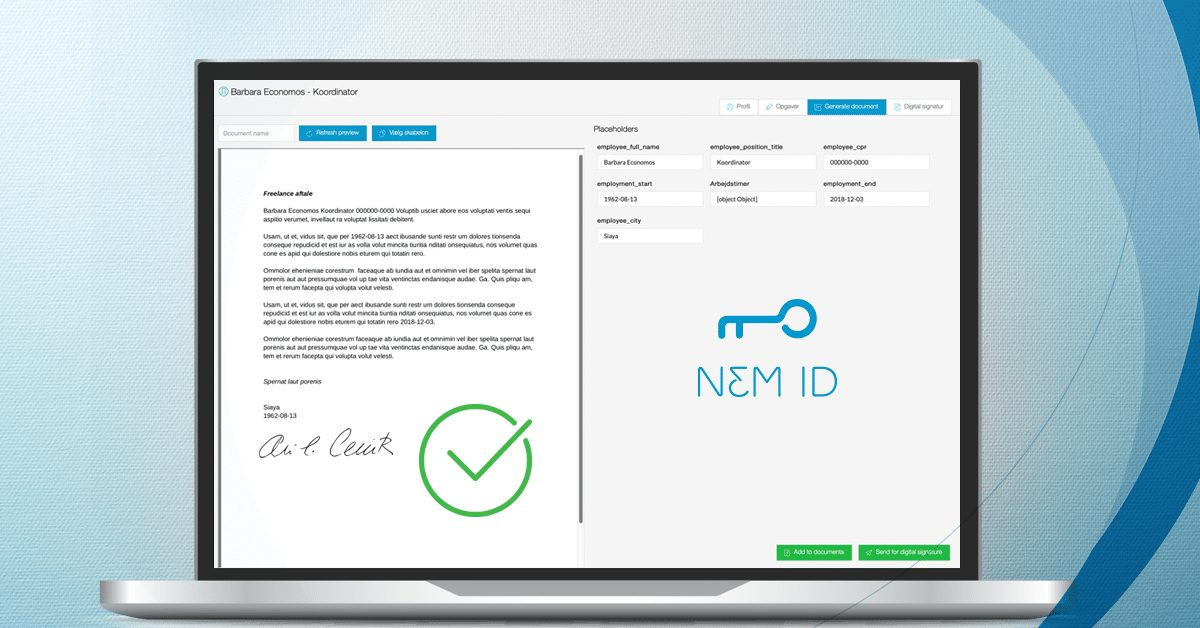 An image of the digital signature generated by the recruitment system