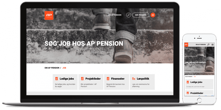Aps job side på deres hjemmeside mobil og desktop version