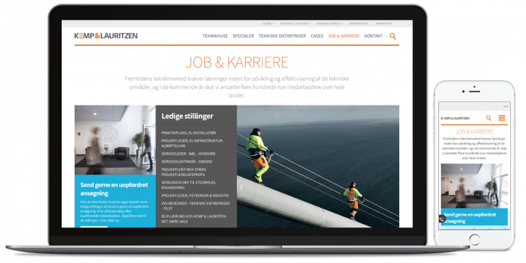 Kemp&Lauritzens job karriere side på mobil og desktop version