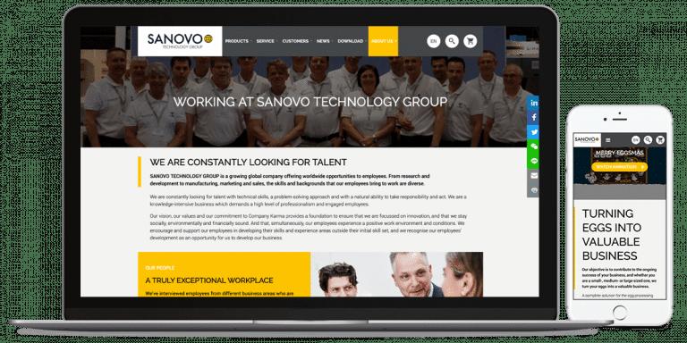 Sanovos hjemmeside på desktop og mobil versionen