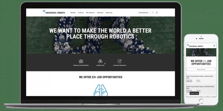 Universal Robots hjemmeside desktop og mobil version