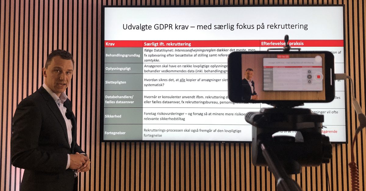 Jesper Løffler Nielsen, Focus Advokater, holdt oplæg til HR-ONs GDPR-webinar
